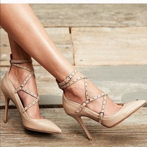Valentino Love Latch Pumps In Nude
